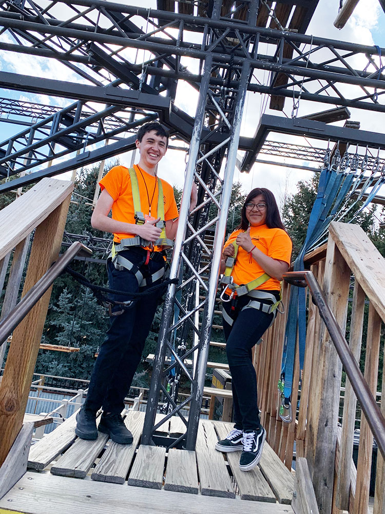 Adventure Golf & Raceway Employees on Ropes Course