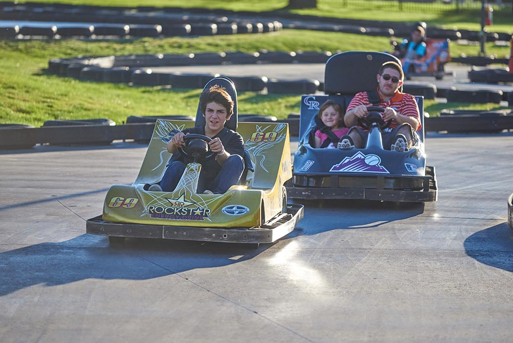 guests riding go karts