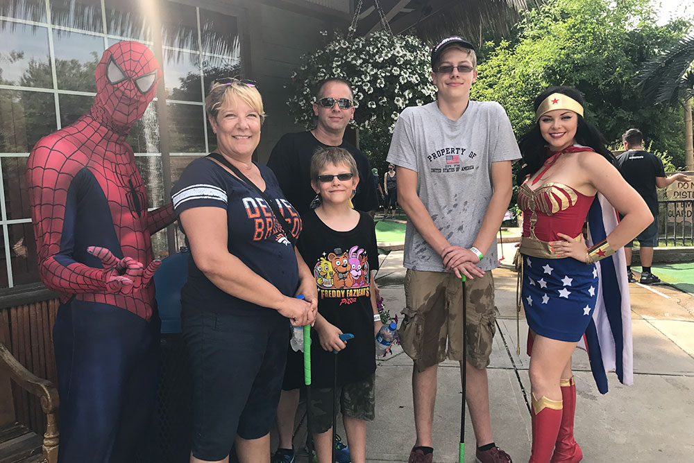 Spiderman, Wonder Woman & four guests