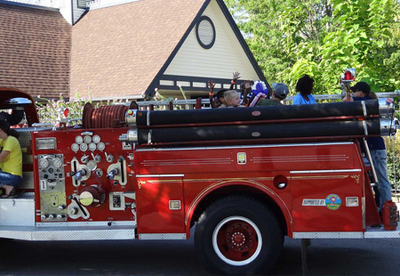 fire truck with kids on it